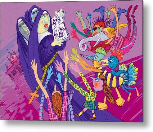Sisters Metal Print featuring the digital art Singing Nuns by Annabel Lee