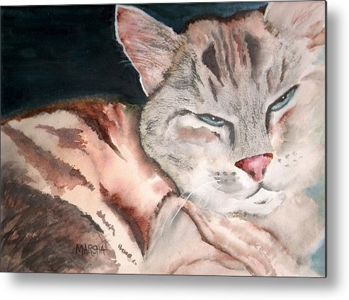 Animal Cat Painting Watercolor Metal Print featuring the painting Sleepy Cat by Marsha Woods