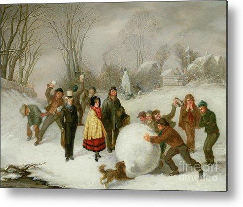Snowballing Metal Print featuring the painting Snowballing  by Cornelis Kimmel
