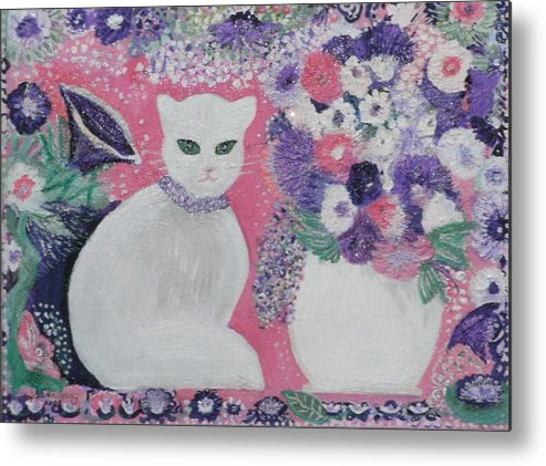 White Cat Purple Pink Still Life Whimsy Lavender Fancy Pretty White Cat Metal Print featuring the mixed media Snow's Garden by Anne-Elizabeth Whiteway
