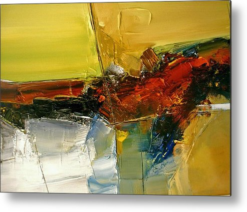 Abstract Metal Print featuring the painting Something Always Lies Beneath Or Above by Stefan Fiedorowicz