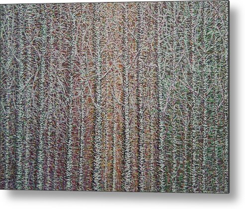 Birch Aspen Tree Landscape Abstract Pointalism Impressionism Metal Print featuring the painting Something To Go With Your Clock by Sally Van Driest