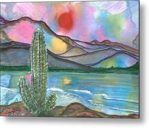 Sunset Metal Print featuring the painting Somewhere South by Laura Johnson