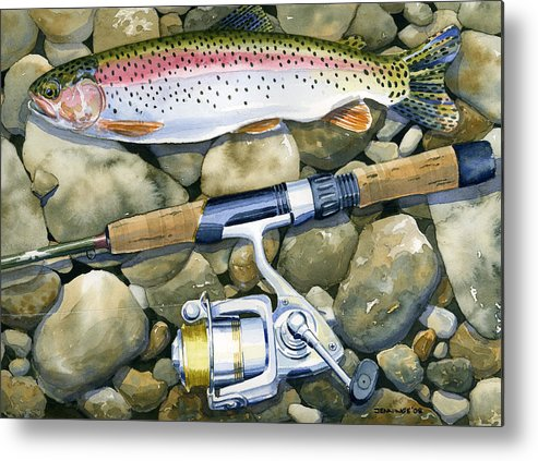 Fish Metal Print featuring the painting Spin Trout by Mark Jennings
