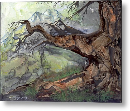 Bark Metal Print featuring the painting Spirit Tree by Sherry Shipley