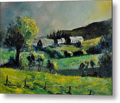 Landscape Metal Print featuring the painting Spring In Voneche by Pol Ledent