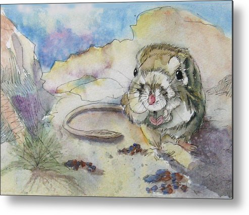 Kangaroo Rat Metal Print featuring the painting Squiggy by Gina Hall