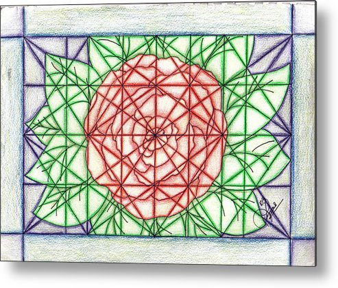 Metal Print featuring the drawing Stained Glass by Lynnette Jones