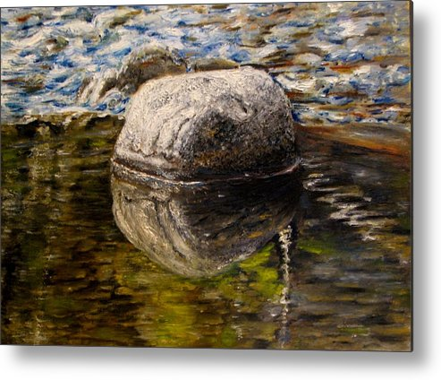 Landscape Metal Print featuring the painting Stone Landscape Original Oil Painting by Natalja Picugina