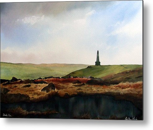 Landscape Metal Print featuring the painting Stoodley Pike by Paul Dene Marlor