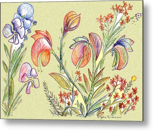 Orchids Metal Print featuring the digital art Strange Orchid Drawing by Julie Richman