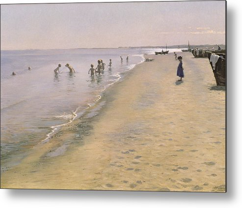 Summer Metal Print featuring the painting Summer Day At The South Beach Of Skagen by Peder Severin Kroyer