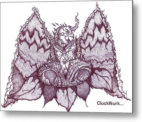 Sun Metal Print featuring the drawing Sun Phoenix Flower Of Flame by ClockWork Rockawn