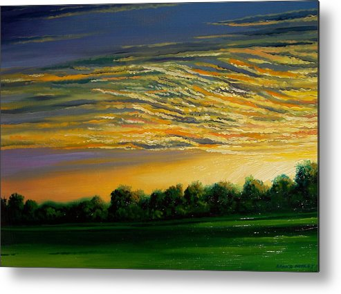 Landscape Metal Print featuring the painting Sunrise by Arnold Hurley