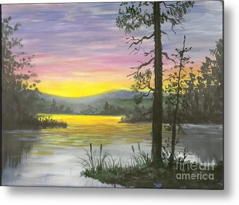 Sunrise Metal Print featuring the painting Sunrise Lake by Don Lindemann
