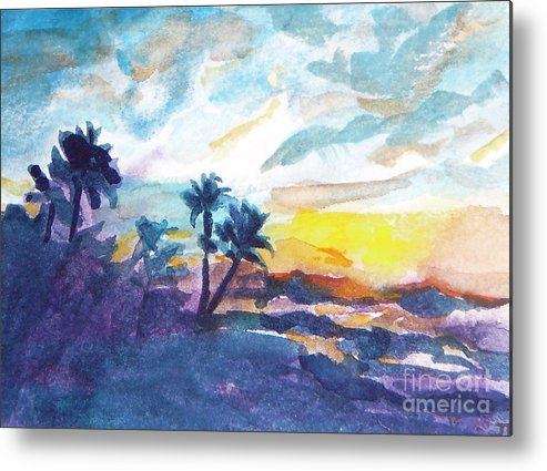 Landscape Metal Print featuring the painting Sunset In Hawaii by Jan Bennicoff