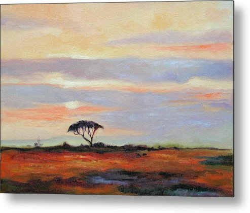 Landscape Metal Print featuring the painting Sunset On The Serengheti by Ginger Concepcion