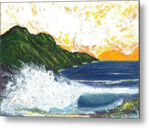 Seascape Metal Print featuring the painting Swept Away by Laura Johnson