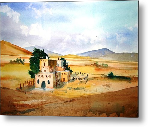 Watercolor Metal Print featuring the painting Taos Adobe by Larry Hamilton