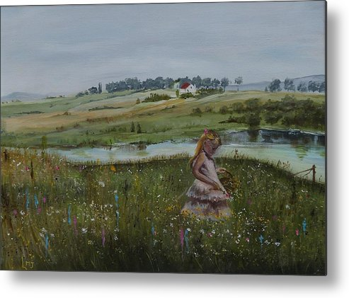 Impression Metal Print featuring the painting Tender Blossom - Lmj by Ruth Kamenev