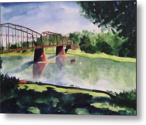 Bridge Metal Print featuring the painting The Bridge At Ft. Benton by Andrew Gillette
