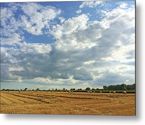 Landscape Corn Field Clouds Sky Straw Hay Tree England Summer Autumn Uk View Metal Print featuring the photograph The Cornfield by John R Moore