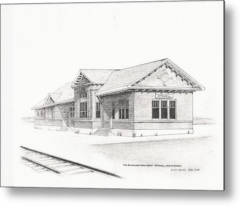 Architecture Metal Print featuring the painting The Depot Mitchell South Dakota by Buffalo Dick Vance