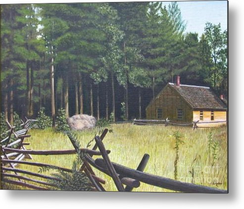 Landscape Metal Print featuring the painting The District School House by Donald Hofer