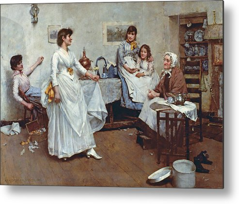 The Dress Rehearsal Metal Print featuring the painting The Dress Rehearsal by Albert Chevallier Tayler