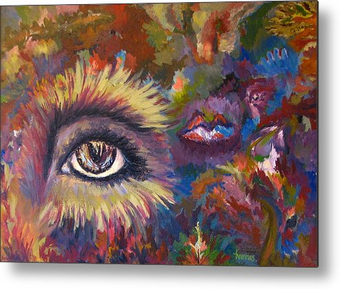 Abstract Metal Print featuring the painting The Eye by Laura Tveras