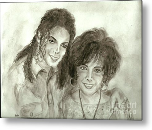 Michael Jackson Metal Print featuring the painting The King Of Pop And Elizabeth Taylor by Nicole Wang