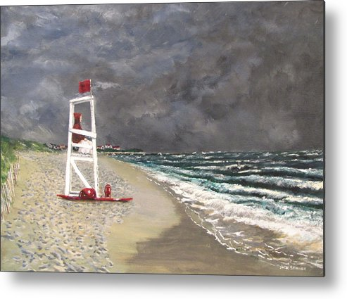 Seascape Metal Print featuring the painting The Last Lifeguard by Jack Skinner