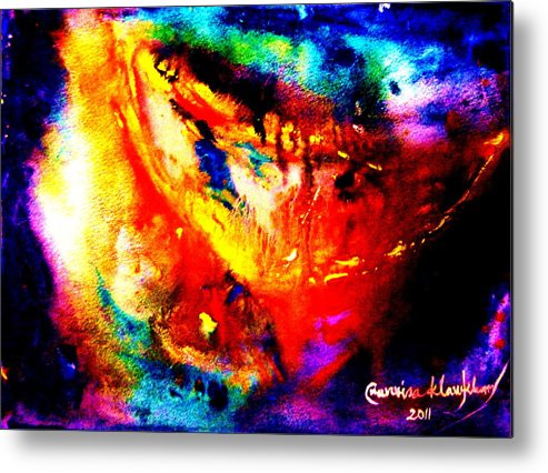 Abstract Metal Print featuring the painting The Moon by Wanvisa Klawklean