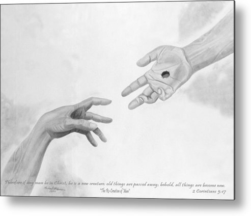 Religion Metal Print featuring the drawing The Re-creation Of Man by Michael McFerrin