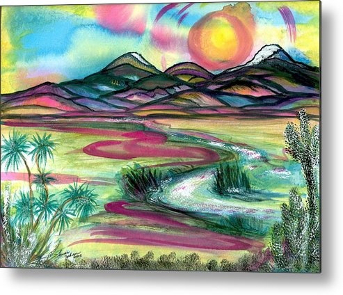 Landscape Metal Print featuring the mixed media The Wild West by Laura Johnson