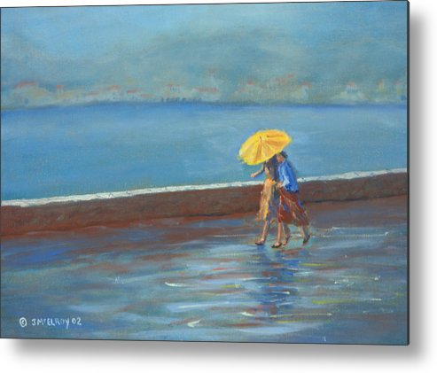 Rain Metal Print featuring the painting The Yellow Umbrella by Jerry McElroy
