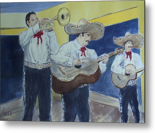 Mariachi Band Metal Print featuring the painting Three Amigos by Pete Maier