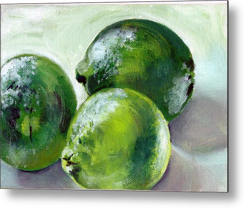 Food Metal Print featuring the painting Three Limes by Sarah Lynch