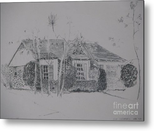 Christmas House Metal Print featuring the drawing Through The Woods To Grandmother by James SheppardIII