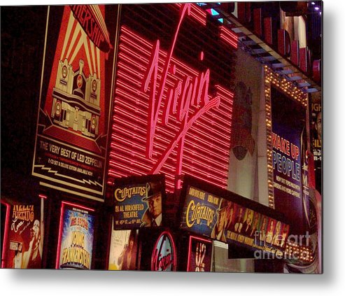 Times Square Metal Print featuring the photograph Times Square Night by Debbi Granruth