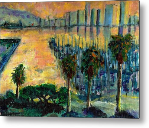 Ocean Metal Print featuring the painting Treasure Island Sunset by Randy Sprout