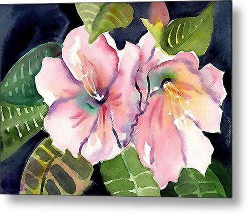 Tropical Metal Print featuring the painting Tropical Flowers by Janet Doggett