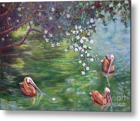 Pelicans Metal Print featuring the painting Tunnel Of Love by Alina Martinez-beatriz
