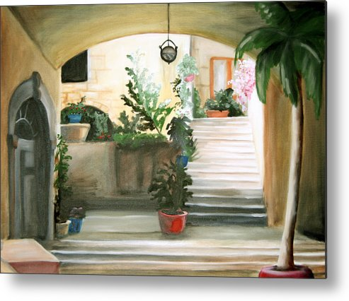 Portrait Metal Print featuring the painting Tuscan Courtyard Detail by Maryn Crawford