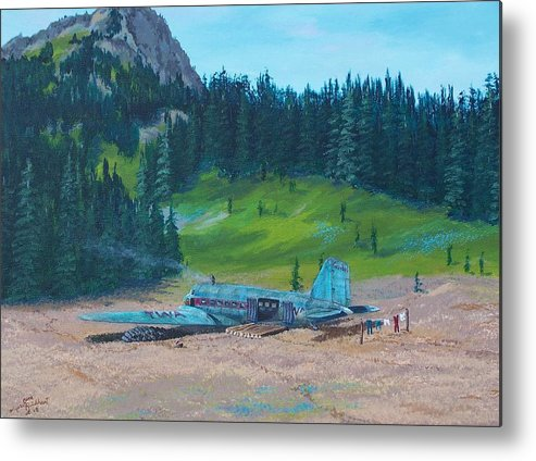 Landscape / Dc-3 Airplane Metal Print featuring the painting Twa Mountaintop Cabin by Gene Ritchhart