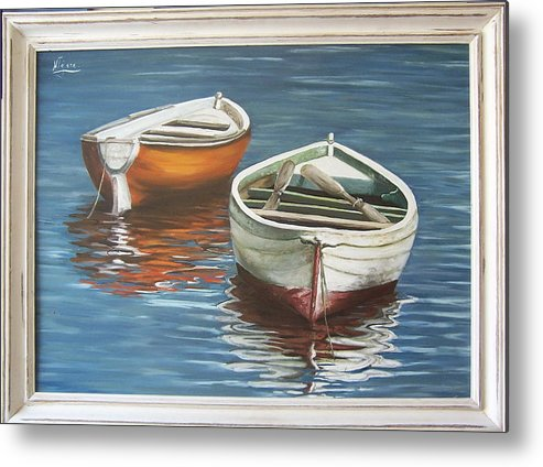 Boats Reflection Seascape Water Boat Sea Ocean Metal Print featuring the painting Two Boats by Natalia Tejera
