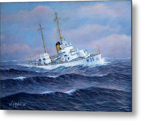 Marine Art Metal Print featuring the painting U. S. Coast Guard Cutter Owasco by William H RaVell III