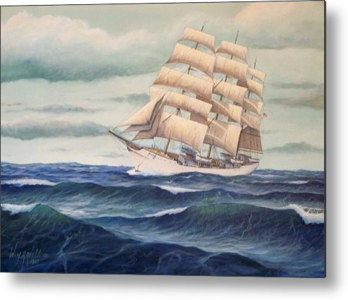 Tall Ships Metal Print featuring the painting Uscg Danmark by William H RaVell III