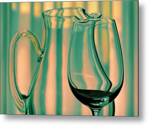 Still Life Metal Print featuring the photograph Vase And Glass by Dan Holm