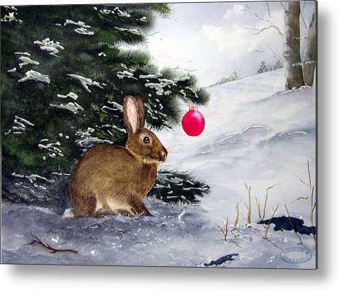 Bunny Metal Print featuring the painting Waiting For Santa by Sharon Steinhaus